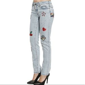 Just Cavalli skinny jeans with embroidered patches